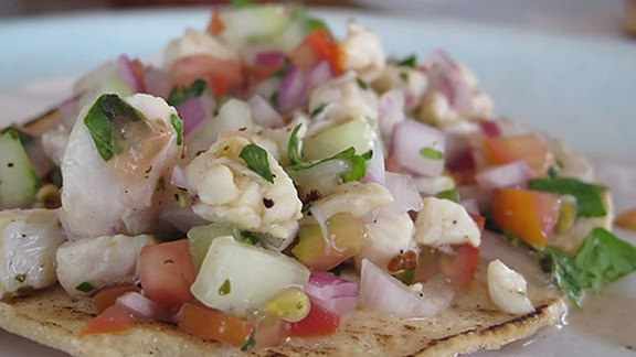 Chef Andrew Wilson reviews Tostada de cevice at