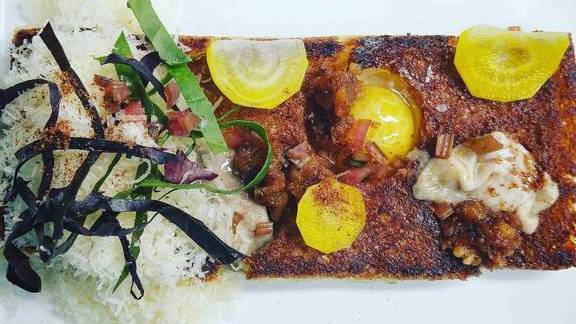 Chef Edward Lee reviews Oyster toast, bourbon brown butter, quail egg, ham salt, sheep's milk cheese, chard and beets at 610 Magnolia