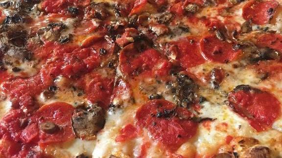 Pepperoni sausage pizza at John's of Bleecker Street