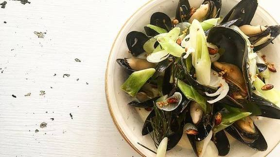Wild Maine mussels, spring conifer and petit leeks at MÅURICE