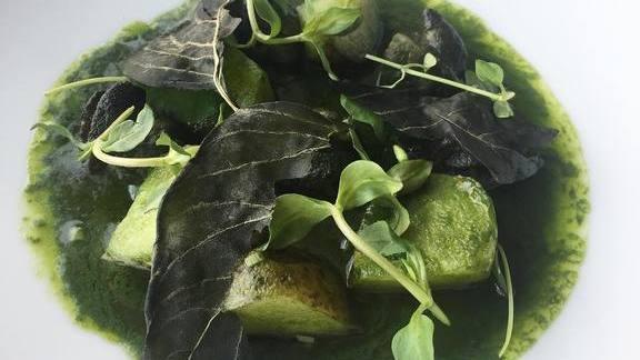 Snails, nettle purée, potatoes, basil at Otway