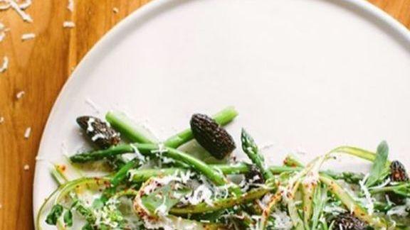 Local grilled asparagus, caramelized morels, shaved feta, papadum, espelette & spruce vinaigrette at Chambar