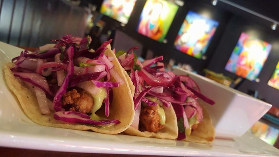 Fish tacos with pickled red onions at Kitchen LTO