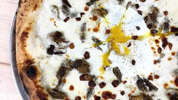 White pizza with morels, stracchino, egg, bacon bits at Nicky's Coal Fired
