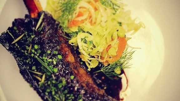Blood orange and chili glazed 7 hills farm beef short rib with shaved fennel and torn mint at Iron Gate