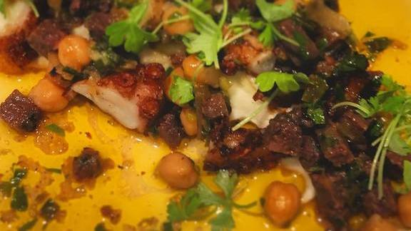 New dish: Pulpo octopus, garbanzo, potato puree, morcilla & green garlic salsa at Bellota