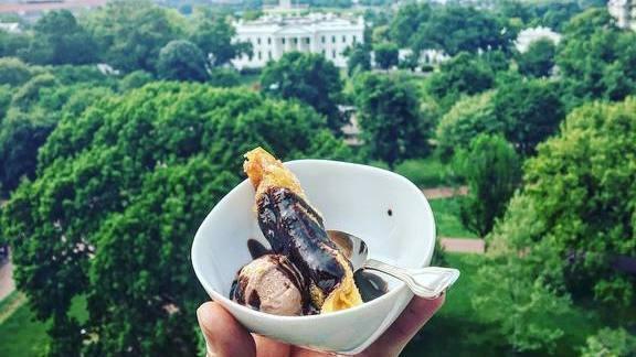 Banana lumpia, choco-coco sauce, chocolate custard, hazy hazelnut crunch at Good Stuff Eatery