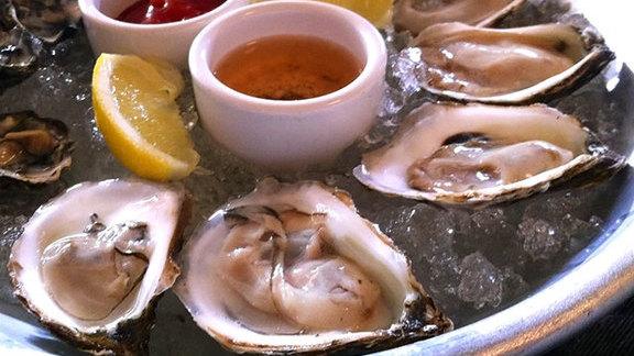 Half dozen oysters at Magnolia Gastropub & Brewery