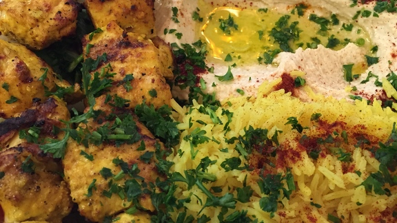 Chef Telmo Faria reviews Shish taouk (chicken kebabs) at