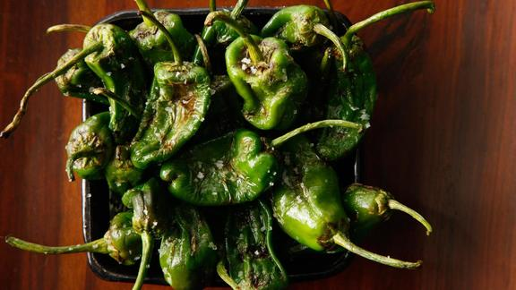 Chef Parke Ulrich reviews Shishito peppers w/ smoked anchovy salt at