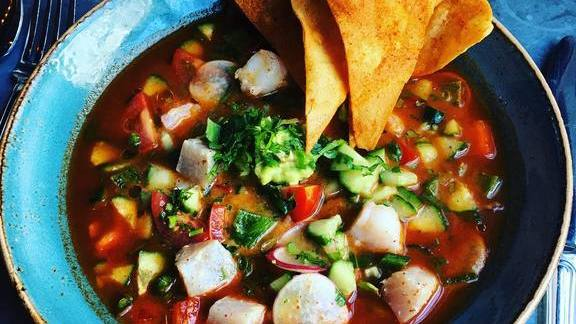 Shrimp ceviche with tortilla chips at Bankers Hill Bar & Restaurant
