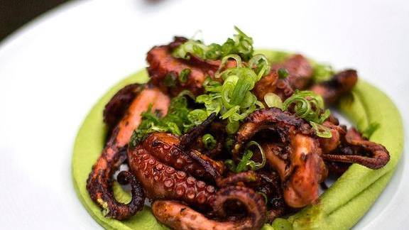 Octopus, red chermoula, and chickpea hummus at Proxi