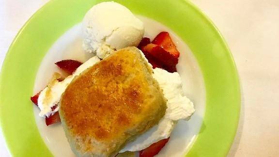Strawberry shortcake with buttermilk gelato at Cafe Margot