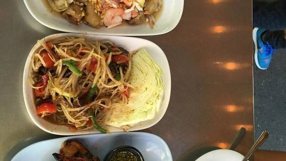 Green papaya salad, Isaan style  at Pok Pok NY