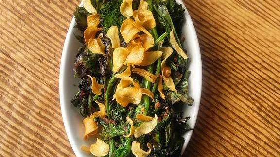 Broccoli rabe and black olive tapenade at The Saratoga