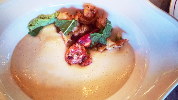 Chilled cauliflower and lobster soup at Nico Osteria