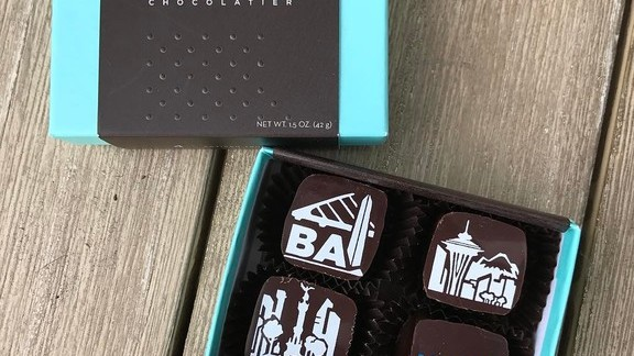 Printed chocolates at Socola Chocolatier + Barista