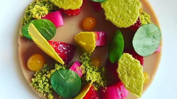Chef Bryan Voltaggio reviews Duck liver pistachio, rhubarb, sorrel, and citrus at Volt