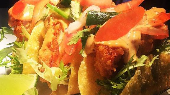 Crispy fish taco, chipotle, lime at Seabird