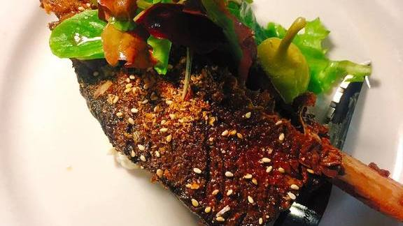 Smoked beef short rib, Gnome farm lettuce, Furikake vinegret at Chef Shack Bay City, WI