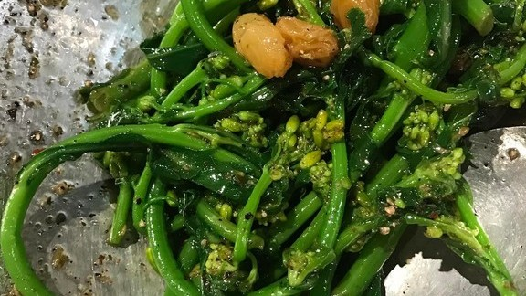 Kale rapini with oregano vin  at Superiority Burger