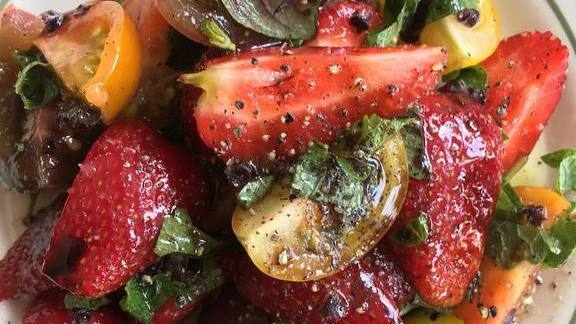 Strawberry and tomato salad with fresh herbs and balsamic vinegar at The Hungry Pigeon