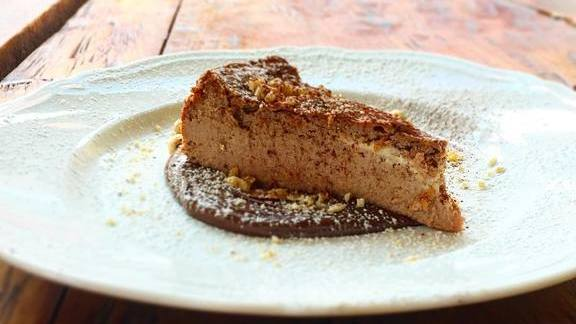 Nutella cheesecake and toasted hazelnuts at Le Virtù