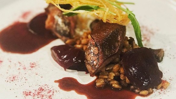 Chef Bryan Voltaggio reviews Squab, beets, faro, sunflower seeds, and sorrel at Volt