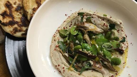 Smoked bluefish, fava beans, lemon oil, flatbread. at Lula Café