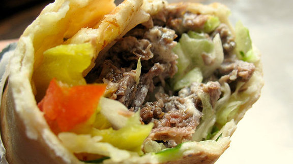 Chef Charlie Redd reviews Lamb shawarma roll-up at