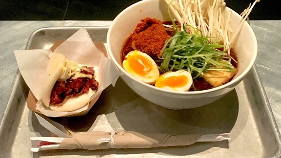 Shoyu Ramen and Pastrami Bun at Ivan Ramen Slurp Shop
