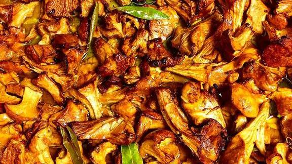 Local Chanterelles roasted with fresh bay leaf and sherry!  at Duende
