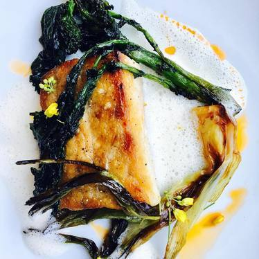 Mahi mahi, garlic milk, honey froth, grilled broccoli rabe, vidalia at St. Cecilia