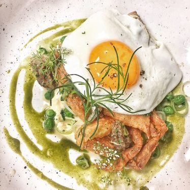 Soft shell crab, egg, peas, morels, leeks and lemon aioli at Ironside