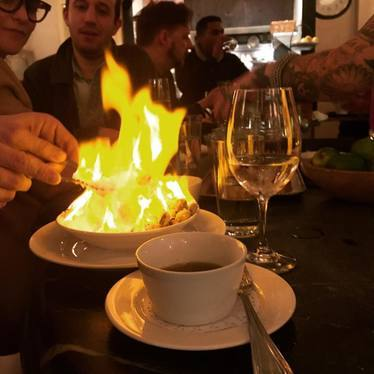 Pistachios in salt, flambéed at Prune