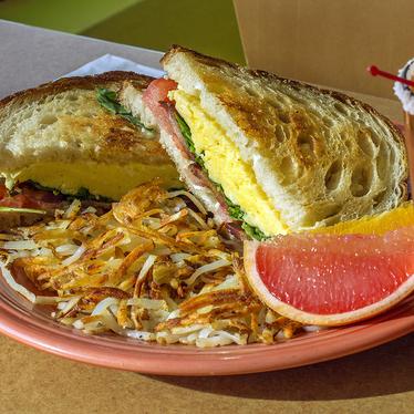 Bacon, egg & arugula sandwich at Geraldine's Counter