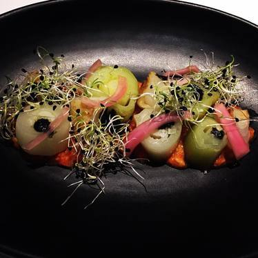 Romesco, braised leeks, charred leeks, roasted cippolini, pickled red onion, onion sprouts at The Bellwether