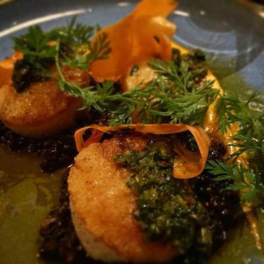 Seared scallops at Lionfish