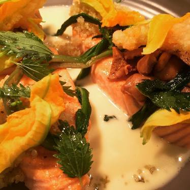 Salmon, nettles, ramps, and butter at Kettner Exchange