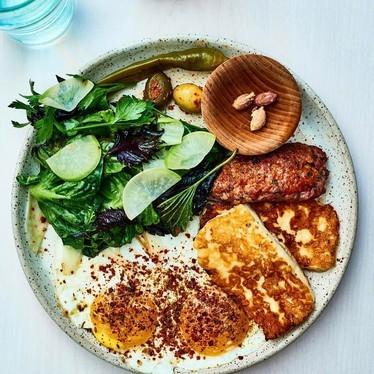 Eggs, hash browns and salad at Tusk