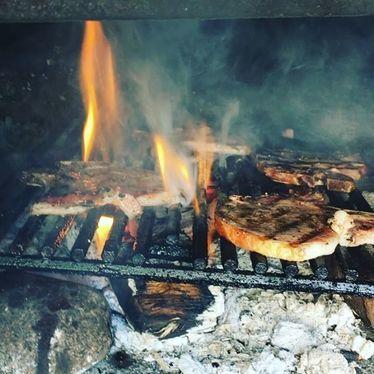 Fire grilled pork chops at Cattivella