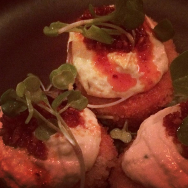 Fried deviled eggs at tuome