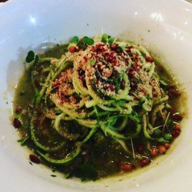 Zucchini linguini summer greens pesto at Lila
