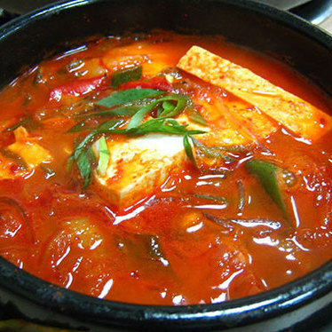 Kimchi beef tofu soup at Lighthouse Tofu & BBQ