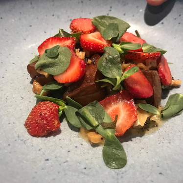 Strawberries and greens at Elske