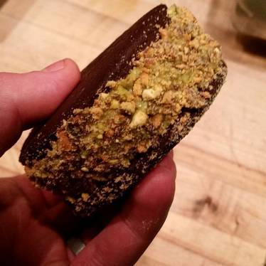 Matcha ice cream, chocolate, and pistachios at Ma'ono Fried Chicken & Whisky