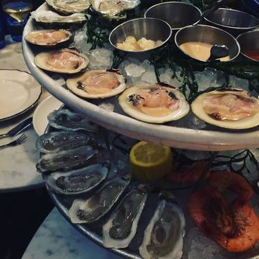 Seafood tower with oysters, shrimp and clams at The Ordinary