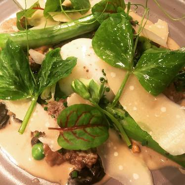 Poached egg, morel mushroom, asparagus, and parmesan at Kettner Exchange