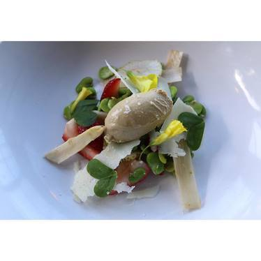 Wild strawberries, fava, foie mousse, pecorino, white asparagus and brioche at Hillside Supper Club
