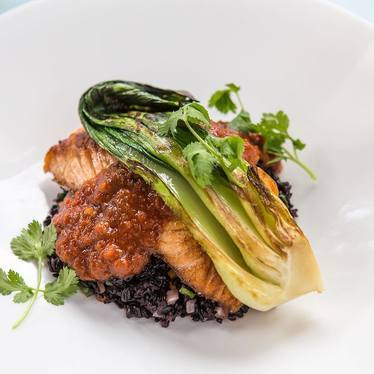 Skuna Bay Salmon with Forbidden Black Rice, Korean BBQ, Broiled Bok Choy and Vegetables at Hubbell & Hudson Bistro